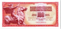 Iugoslavia 100 Dinara - Equestrian statue Peace of Augustincic - 1965
