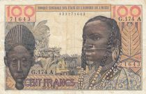 Ivory Coast 100 Francs mask 1961 litho - Ivory Coast - Serial G.174