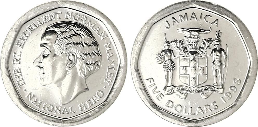 Jamaica 5 Dollars Norman Manley 1996 Loading Zoom