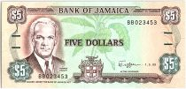 Jamaica 5 Dollars, Norman Manley - old Parlement -  1989