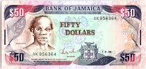 Jamaica 50 Dollars, Samuel Sharpe - Beach  - 1988