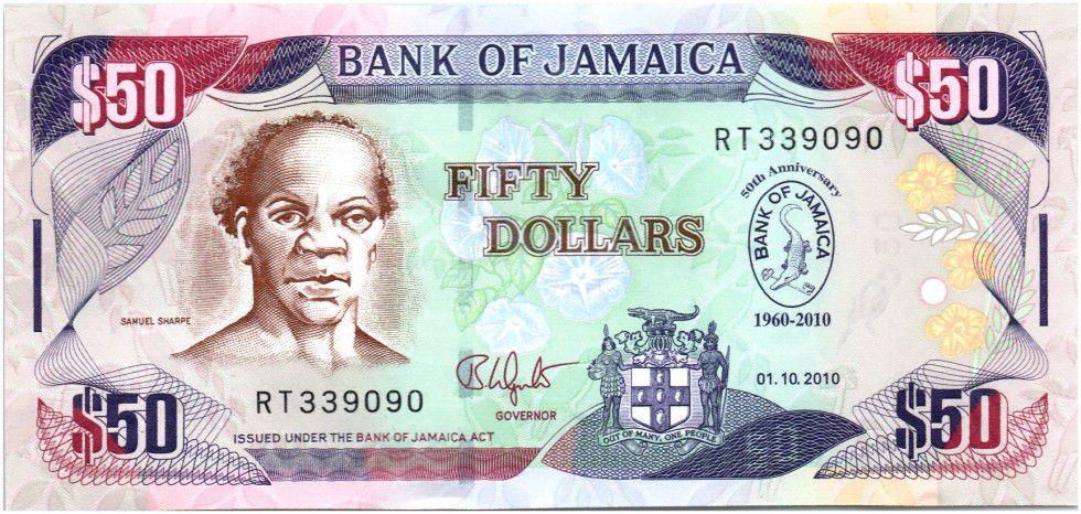Jamaica 50 Dollars Samuel Sharpe - 50 years of Bank of Jamaica - 2010
