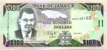 Jamaica P.84.f 100 Dollars, Sir Donald Sangster - Waterfall - 2011