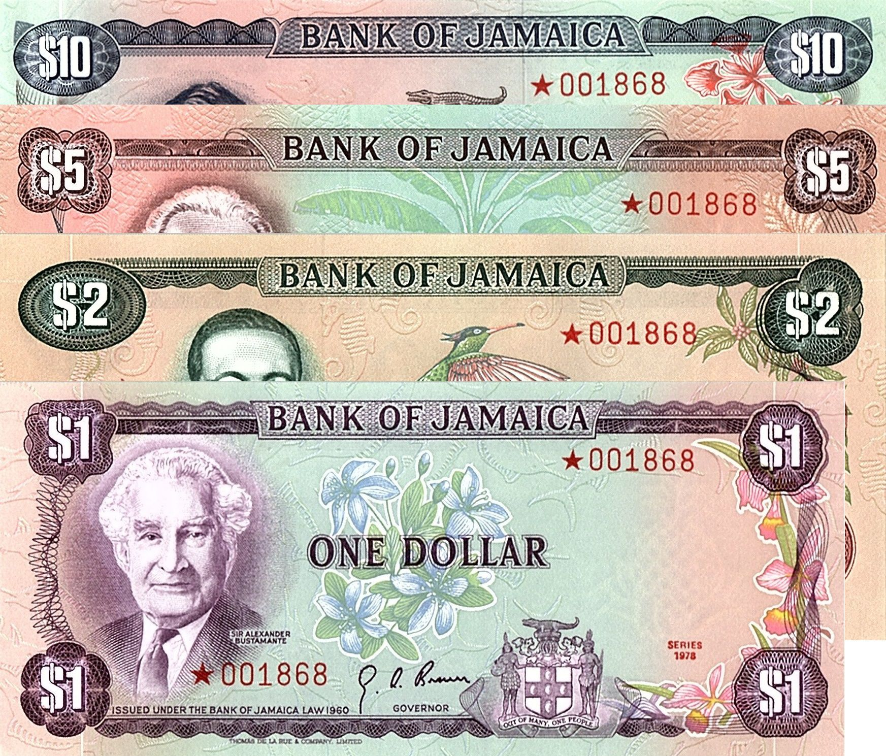 Jamaïque 1 à 10 Dollars, Serie pour collection, Numérotation rouge  - 1978