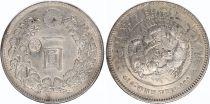 Japan 1 Yen Dragon  - 1895 Meiji 28 contermarked