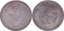 Japan 1 Yen Dragon  - 1895 Mutsuhito Year 28 - Gin Countermark - AU