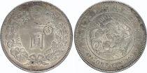 Japan 1 Yen Dragon  - 1896 Meiji 29 contermarked