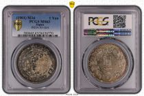 Japón 1 Yen Dragon  - 1901 M34- PCGS MS 63