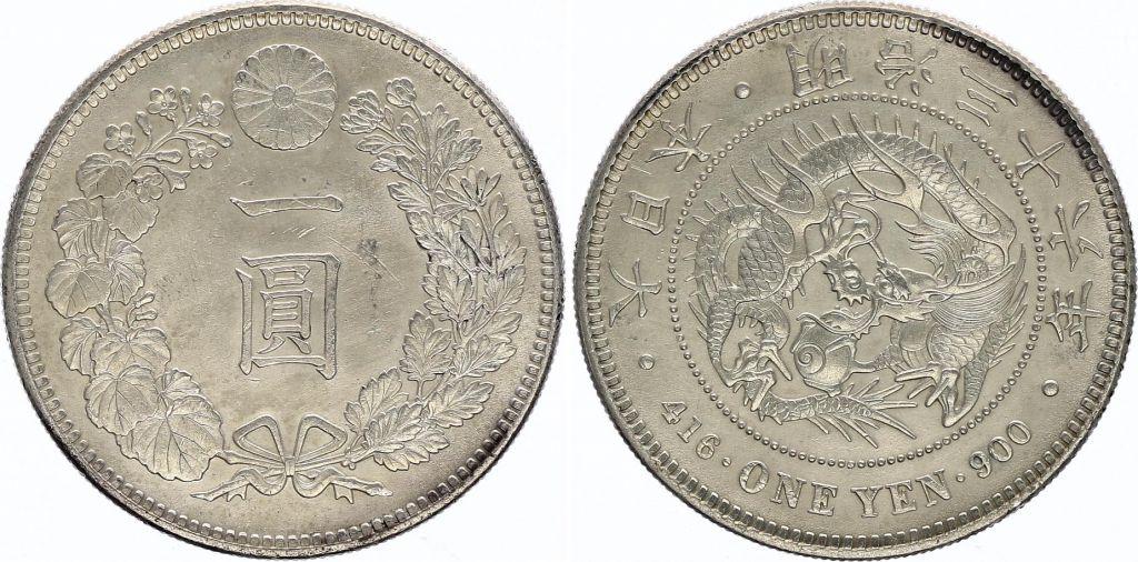 Japon 1 Yen Dragon  - 1903 Meiji 36