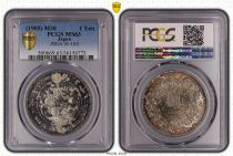 Japon 1 Yen Dragon  - 1905 M38- PCGS MS 63