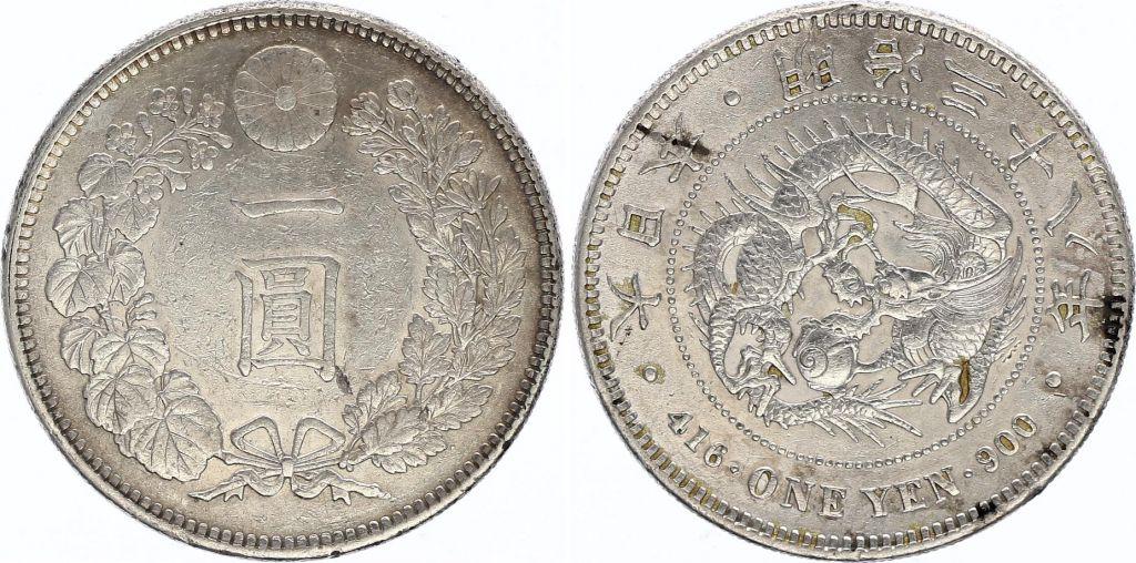 Japon 1 Yen Dragon  - 1905 Meiji 38