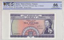 Jersey 10 Pounds Elisabeth II - St Ouen\'s manor - 1972 - PCGS 66 OPQ