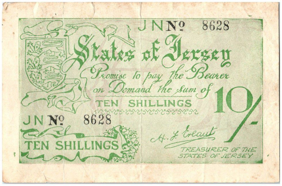 Jersey 10 Shillings Woman and cows - 1941
