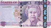 Jersey 100 Pounds, avec folder Elisabeth II - Jubilé de la Reine