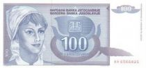 Jugoslawien 100 Dinara Young woman - Stalk