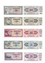 Jugoslawien Set of 5 banknotes from Yougoslavia - (1978- 1986)