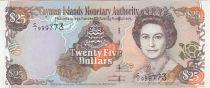Kaimaninseln 25 Dollars  Elizabeth II, islands map - 2003