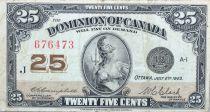 Kanada 25 Cent Britannia - 1923 - Serial J