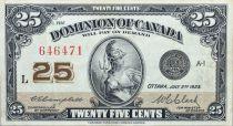 Kanada 25 Cent Britannia - 1923 - Serial L