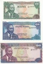 Kenya Série 3 billets  - Mzee Jomo Kenyatta - 1978