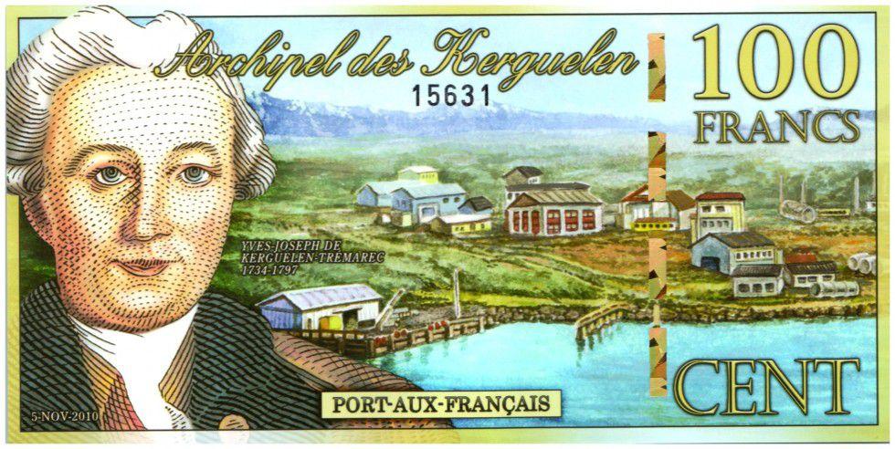 Kerguelen (Archipel des) 100 Francs, Yves-Joseph de Kerguelen-Trémarec - Chat 2010