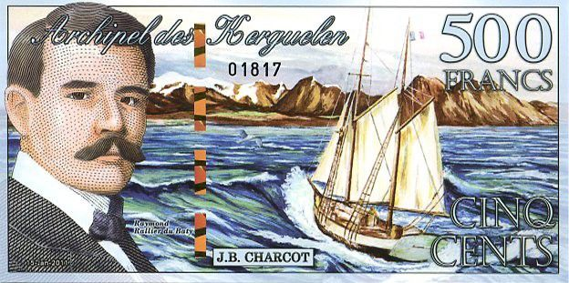 Kerguelen Islands 500 Francs, J.B. Charcot, boat - Cat - 2011