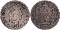 Kingdom of Napoleon 5 lire Napoleon I 1809 M Milan - Silver - KM.10