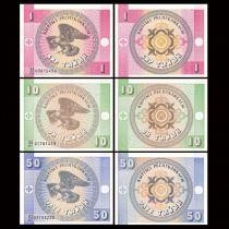 Kirghizstan Série de 3 billets 1 à 50 Tyin - 1993 Neuf