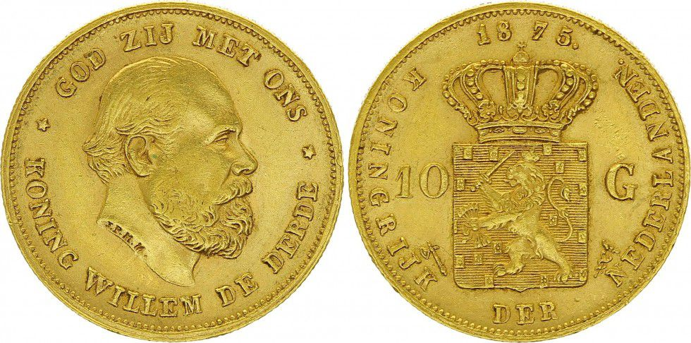 KM.105 10 Gulden, Guillaume III - Armoiries 1875