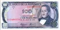 Kolumbien 100 Pesos oro, Santander - Capitol  -  1973 - Serial Y
