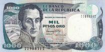 Kolumbien 1000 Peso Oro Oro, Simon Bolivar - Vargas 1819 - 1990