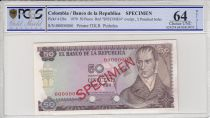 Kolumbien 50 Pesos oro, Camillo Torres - Orchids -  1970 - PCGS 64