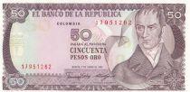 Kolumbien 50 Pesos oro oro, Camillo Torres - Orchids - 1986