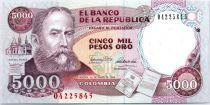 Kolumbien 5000 Pesos Rafael Núñez - Statue of Miguel Antonio Caro - 1990