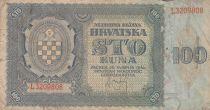 Kroatien 100 Kuna 1941 - Blue-grey, Coat of Arms - Serial L3209808