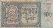 Kroatien 100 Kuna 1941 - Blue-grey, Coat of Arms - Serial P0553278