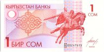 Kyrgyzstan 1 Som, Equestr. st. of Manas the Noble - 1993 - P.4