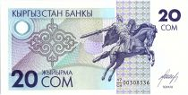 Kyrgyzstan 20 Som, Equestr. st. of Manas the Noble - 1993 - P.6