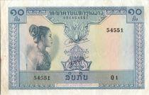 Lao  10 Kip - Laotian -  Stylized figures - 1962 - Q 1