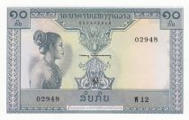 Lao  10 Kip - Laotian -  Stylized figures - 1962 - Serial W.12 - UNC - P.10b