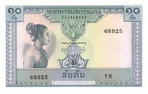 Lao  10 Kip - Laotian -  Stylized figures - 1962 - Serial Y.8 - UNC - P.10b