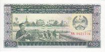 Laos 100 Kip Moisson - Soldat, Pont