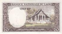 Laos 20 Kip Roi Savang Vatthana - Temple - 1962