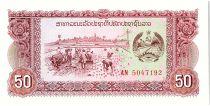 Laos 50 Kip,  Rizière - Barrage - 1979 - P.28 a