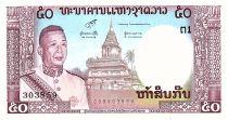 Laos 50 Kip - Roi Savang Vatthana - Pagode - 1963