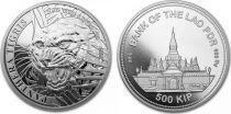 Laos 500 Kip Tigre 2021 - 1 Once Argent