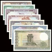 Lebanon Set of 7 banknotes - Monuments - UNC