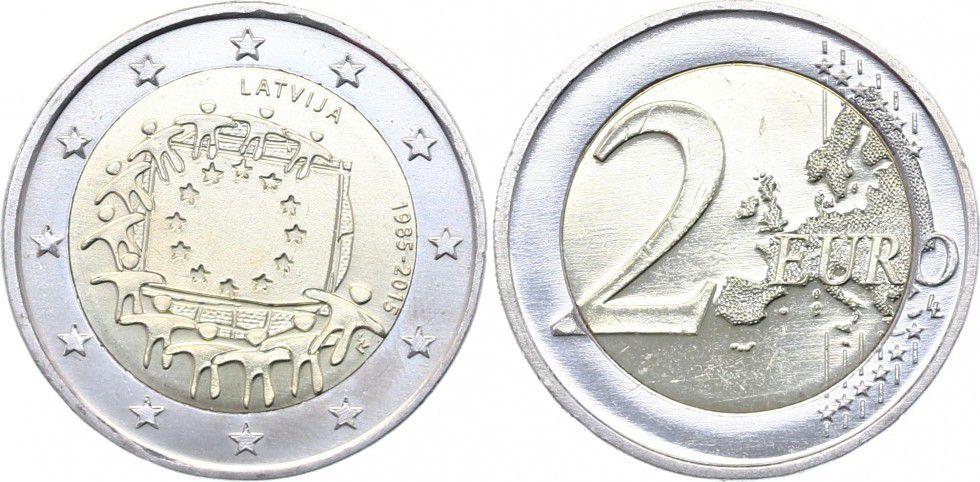 Lettonie 2 Euro 30 ans du Drapeau Européen - 2015