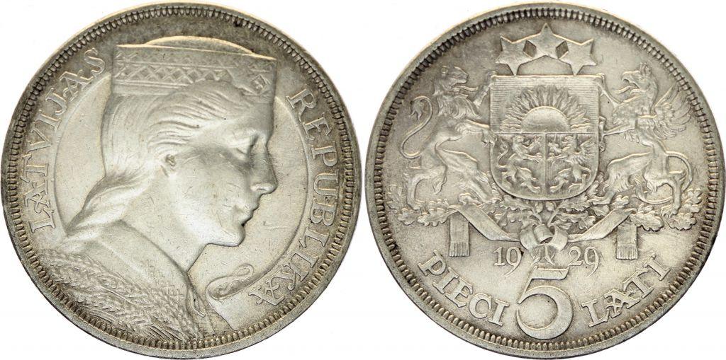 Lettonie 5 Lati Milda - 1929 Argent