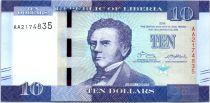 Liberia 10 Dollars, J. J. Roberts - Caucho - 2016